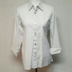 Versace Dolm Italy Striped Button Up Top Large